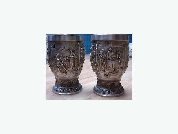goblets metal handcrafted engrave pattern .