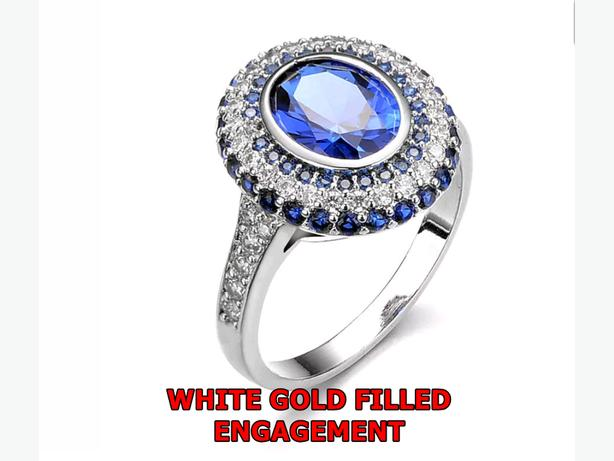 BLUE SAPPHIRE WHITE GOLD FILLED SIZE 9