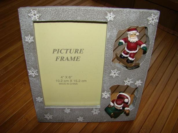Santa Picture Frame with Santa on a Snowboard