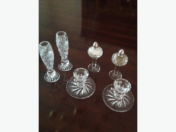 Cristal candle holders (2) sets, salt/pepper shakers