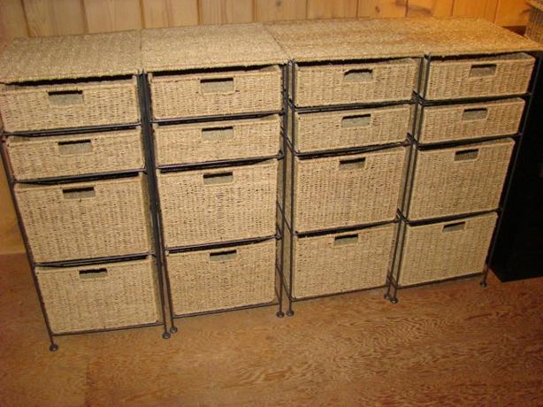 Four Metal Frame Seagrass Storage Units $65 each