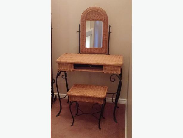 Rattan makeup desk and standup mirror set.