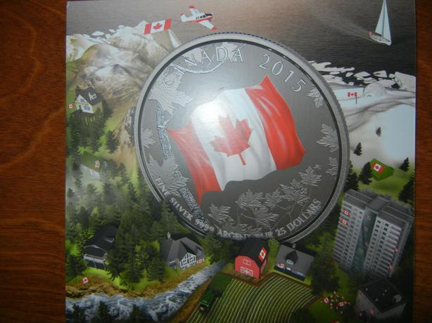 2015-$25 Fine Silver Coin–50th Anniversary of the Canadian Flag