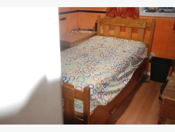 Solid Wood single captain's bed with mattress
