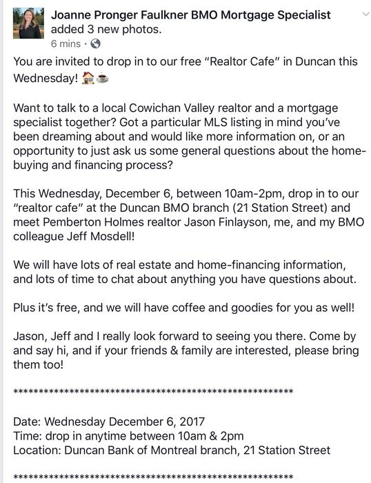 "Free ""Realtor Cafe"" Wednesday December 6 @ Bank of Montreal, 10am"