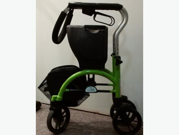 Sturdy foldable walker w/seat and basket