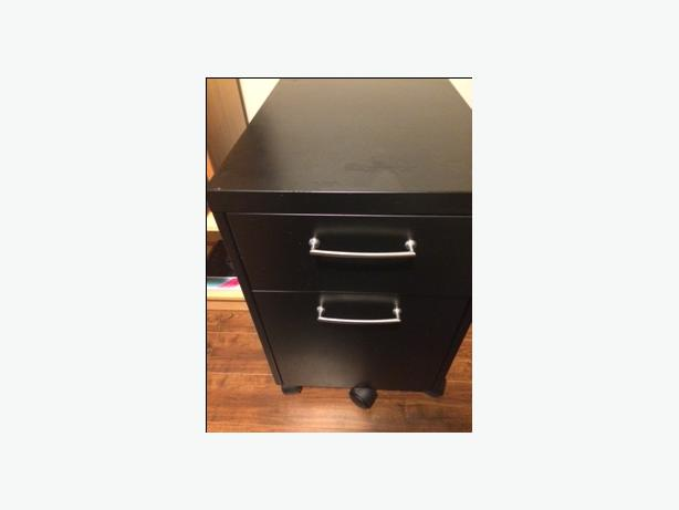 Two drawer metal filing cabinet on wheels