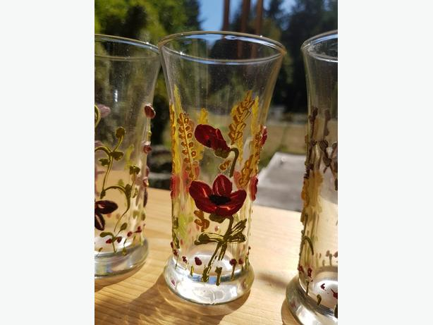 SALE! 60 yr old ANTIQUE HANDPAINTED GLASSES