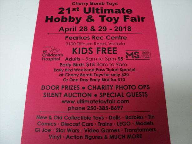 Hobby & Toy Fair April 28 & 29 2018 3100 Tillicum Rd. VICTORIA KIDS FREE