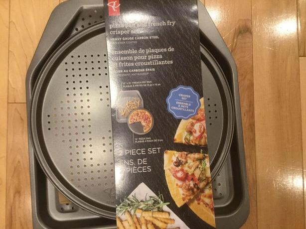 2 Piece Pizza Pan & French Fry Crisper Set~