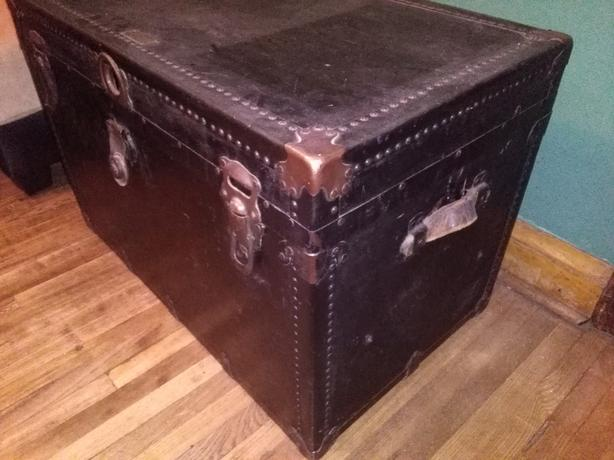 Antique Steamer Trunk Made by Phoenix Trunk Factory