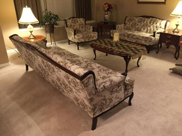 Victorian Style couch, loveseat & chair