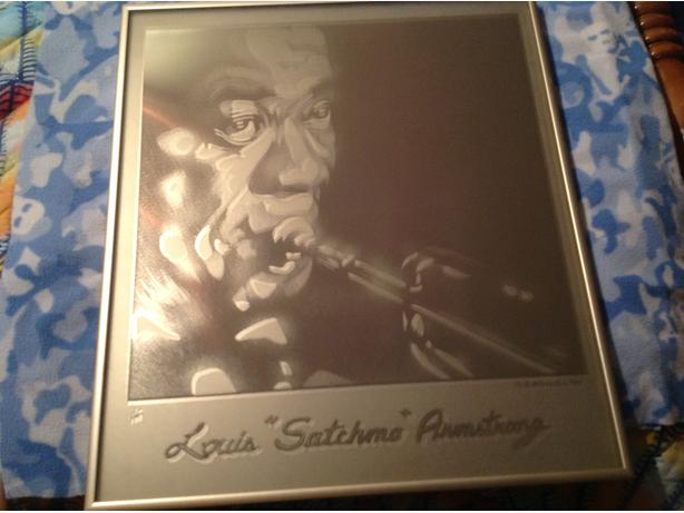 Louis Armstrong Sandblasted Mirror