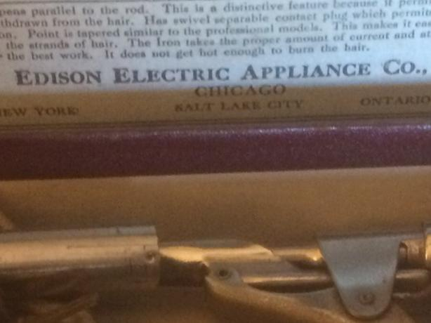 Antique working Edison Curling iron with original box
