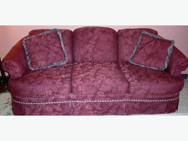 FREE:  1.Burgundy Couch- 2. Ottoman- Oak Cabinet 40's-50's