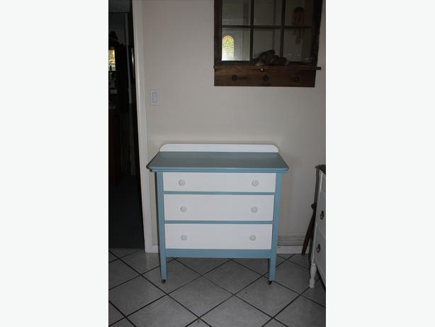 Blue and white vintage dresser