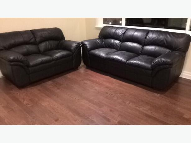 black leather(faux) couch set
