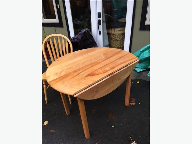 Round birch table + 4 chairs