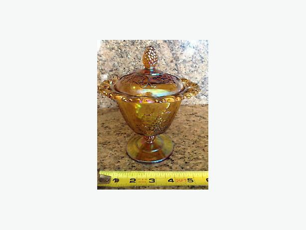Gorgeous Amber Carnival Glass Covered Candy/ Treat Bowl
