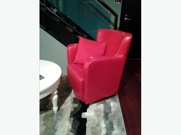 PAIR OF RED BONDED LEATHER SWIVAL CHAIRS