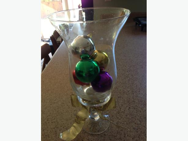 Glass vase with ornaments