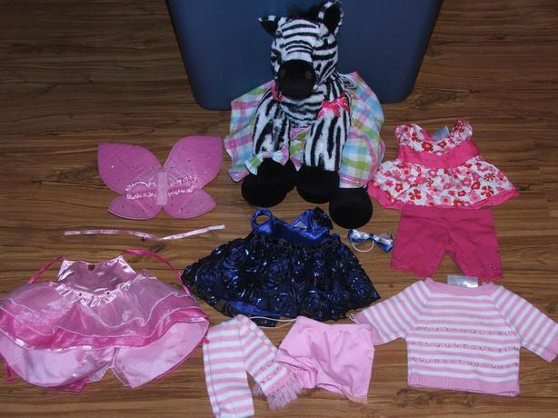 Build A Bear Zebra With Extra Clothing