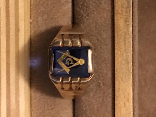 Masonic 10 kt gold ring (Masonic Blue )