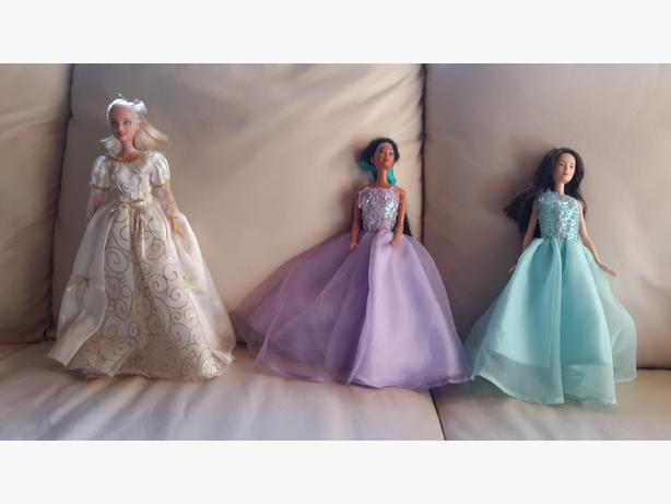 3 Barbie party gowns