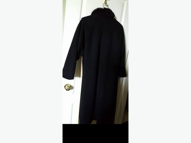 Pure Wool Long Coat with Faux Fur Collar