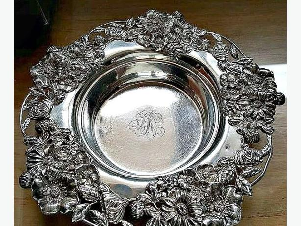Vintage Sterling Silver Wine Coaster with Cast Floral Rim