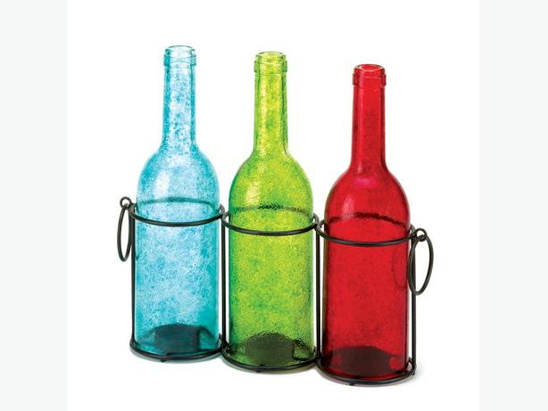 Multi-Color Wine Bottle Candleholder Trio Tabletop Centerpiece Set of 4 New