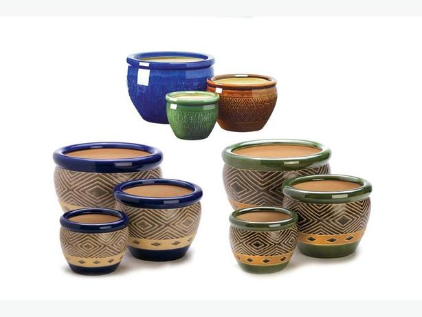 3-Piece Ceramic Flower Pot Planter S/M/L 5 Designs Choose Any 2 Sets NEW