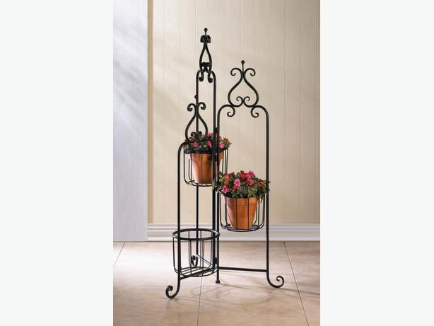 3-Tier Black Metal Plant Stand with Basket-Style Platforms New Unique