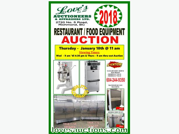 QUALITY RESTAURANT EQUIPMENT AUCTION (new & used) - THURS. JAN 18th