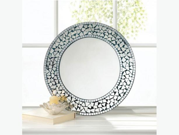 Round Silver Mosaic Wall Mirror Brand New Wood