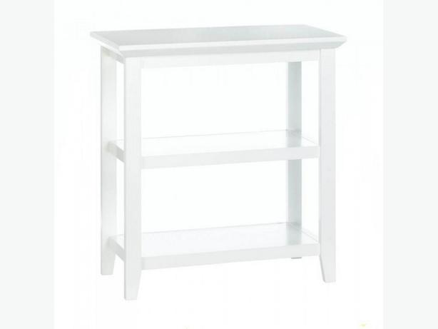 Slim White Wood Display Table Brand New