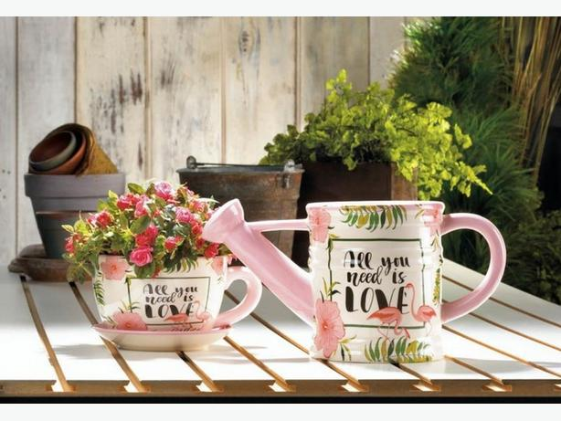 All You Need Is Love Teacup & Saucer Planter Watering Can & Pillow 3PC Mix
