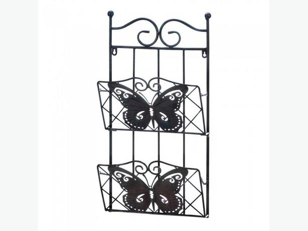 Matching Brown Metal Magazine Rack & Candle Sconce with Butterfly Accents