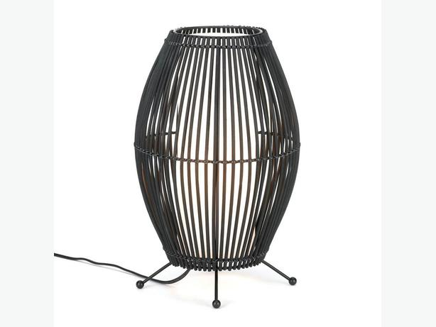 "Modern Bamboo Woven Black Metal Slat Convex Table Lamp 15"" Tall Set of 2 New"