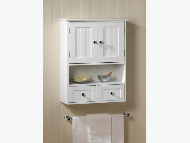 White Wood Wall Cabinet 2 Doors 2 Drawers & Shelf Brand New