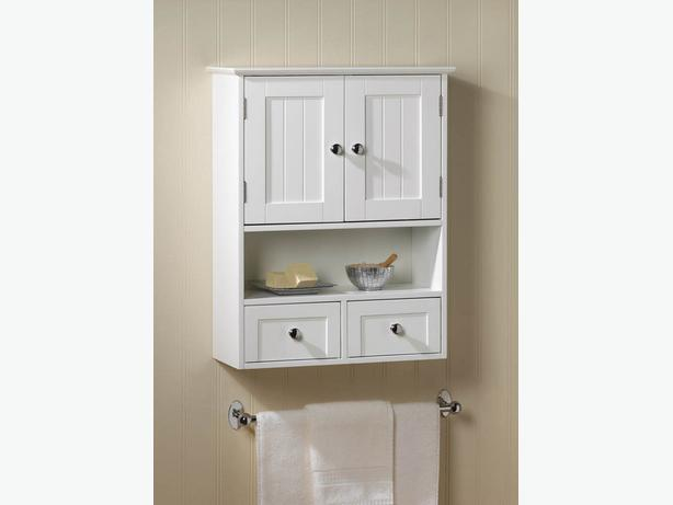 White Wood Wall Cabinet 2 Doors 2 Drawers & Shelf Brand New