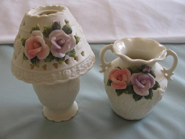 Candleholder Lamp & Vase Set Sculpted Rose Flower Accents Bisque Porcelain