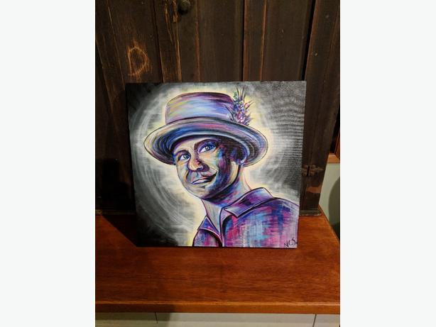 Gord Downie last show oil on canvas 20x20""