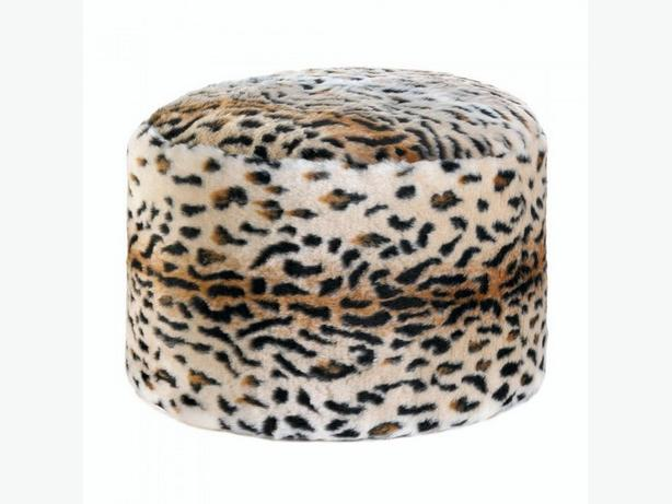 Fuzzy Plush Ottoman Footstool Pouf Cushion Seat Leopard Print New Exotic
