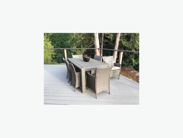 Hampton Bay Tacana 7 Piece Wicker Outdoor Dining Set With Beige