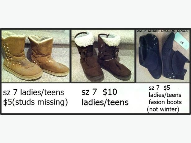 Sz 7 ladies / teens boots  $5 - $10 each