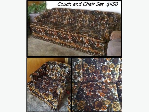 Dark brown with Flowers, Couch and Chair Set