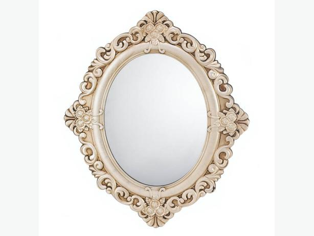 Antiqued-Ivory/Beige Vintage Style Ornate Oval Wall Mirror Set of 2 Romantic