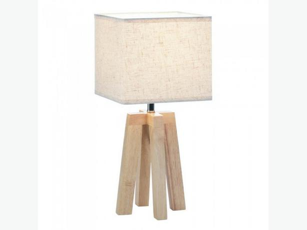 Modern Geometric Table Lamp Square Shade Natural Wood Base Set of 2