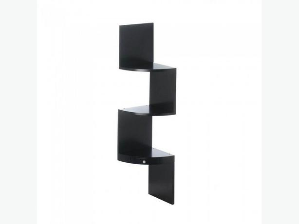 3-Tier Zig Zag Corner Wall Shelf with Small Drawer Black White 2 Lot Choice Wood